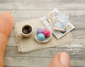 Kafe with macaroons from polymer clay miniature food, dollhause, Doll House, scale 1/12
