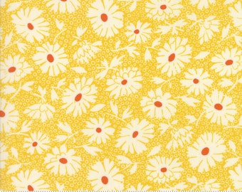 Retro Daisy Fabric, 1930s - Lazy Daisy by American Jane for Moda Fabrics - 21703 13 - Sunshine Yellow - Priced by the half yard