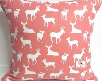 SALE - Premier Prints Deer Silhouette Coral Animal Print Indoor Decorative Throw Pillow Cover with Solid Color Backing fabric and Zipper