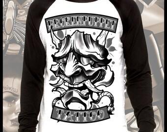 Dark Hannya Tattoo Art Longsleeve Baseball t shirt