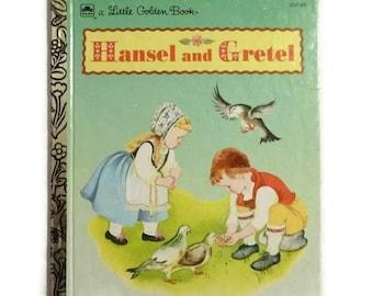 Vintage Hansel & Gretel Book Little Golden Brothers Grimm Childrens Folktale Kids Bedtime Storybook Colored Illustration Paper Ephemera Gift