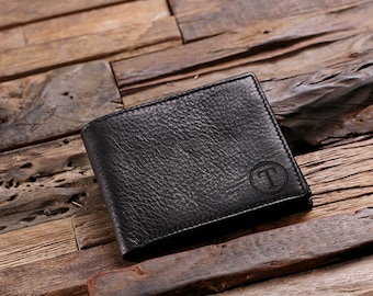Coin Wallet Personalized Monogrammed Engraved Leather Bifold Mens Wallet Zipper Wood Gift Box Groomsmen, Best Man, Father's Day Gift