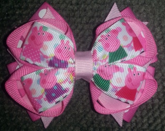 Peppa Pig Handmade Stacked Boutique Bow