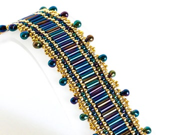 Bugle Bead Bracelet - Seed Bead Bracelet - Brick Stitch Bracelet - Beadwoven in Blue Iris Bugle Beads and Gold Plated Seed Beads