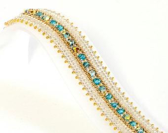 Herringbone Bracelet in Silver and Gold Seed Beads, Aqua Marea FP Beads - Seed Bead Bracelet - Bridesmaid Bracelet - Wedding Jewelry