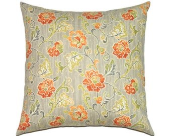 Designer Pillow, 16x16 Pillow Cover, Floral Orange Grey Decorative Pillows, Couch Pillow, Flower Cushion Cover, Summer Decor, Refresh Chili