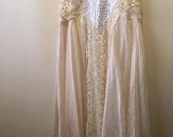 Vintage washed silk bohemian gypsy lace maxi skirt gorgeous beach wedding!