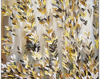"Original Modern Abstract Texture Palette Knife Acrylic Painting ""VANILLA""."