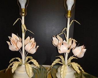 Pair 1960's Vintage Tole Floral Lamps