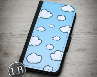 iPhone Wallet Case - Puffy Cloud Pattern Blue Sky - 4, 4s, 5, 5s, 5c, 6, 6 Plus Wallet Case Cover - id: 41009