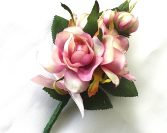 Lady's Pin- on Corsage - Pink Rosebuds, Wedding flowers for Mother of the Bride & Groom
