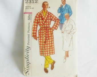 Simplicity Pattern 2312 Mens Robe Design 50s or 60s