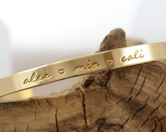 Mothers Bracelet - Gifts for Mom - Mother Day Jewelry - Stacking Gold Bracelet - Personalized Bracelets - Gifts for Her Pink Lemon Design