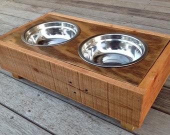 Reclaimed Pallet Wood Dog / Cat Feeding Bowl Set