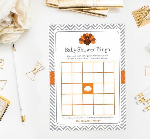 Baby Gift Bingo : Little turkey bingo game baby shower gift printable
