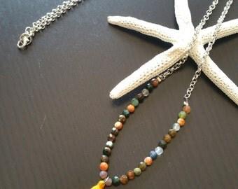 Silver Tassel Necklace Handmade Jewerly Fluo Orange Botswana Agate