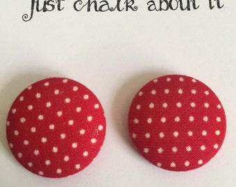 Red and White Polka Dotted Earrings