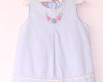 Vintage baby dress blue jumper with flowers, Little Bitty jumper for 18 Mo
