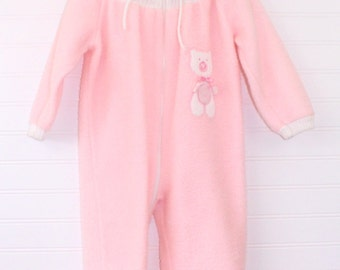 Vintage baby snowsuit, pink with white trim and bear detailing, Rocking Horse sz L (12 -18mo)