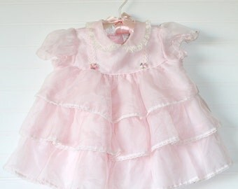 Vintage baby dress light pink frilly, no name sz 18 mo