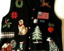 Black Ugly Christmas Sweater Vest, Women's Med Cotton knit, Holiday appliques
