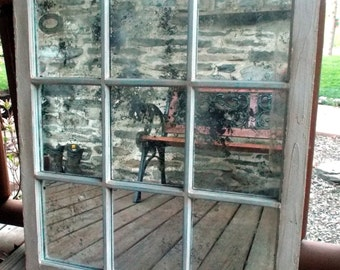Custom vintage reclaimed wood window frame mirrors