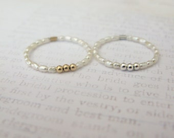 Dainty pearl rings-tiny cultured pearl stacking rings-sterling silver bead pearl ring-seed pearl ring-gold bead pearl ring