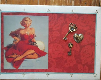 Upcycled, Vintage, Ivory, Jewelry Box, Mele Jewelry Box, Pin-up Girl, Retro