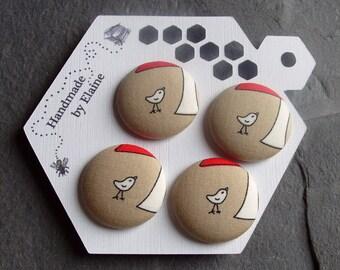Fabric Covered Buttons - 4 x 28mm Buttons, Handmade Button, Bird Buttons, Cream & White Buttons, Wildlife Buttons, Summer Buttons, 2790