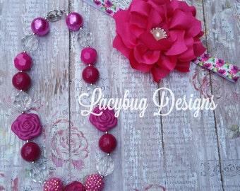 Fushia Pink Flower Headband and Bubblegum/Chunky Necklace Set RTS