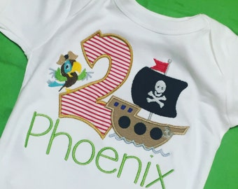 Birthday Pirate ship with Parrot Theme Shirt