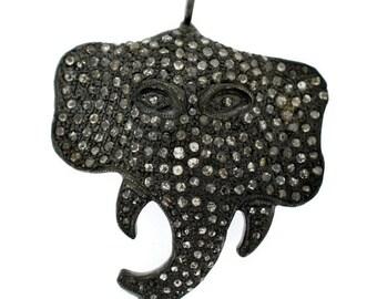 35 mm Elephant face Pave Diamond Pendant