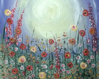 A promise of summer original acrylic painting of wild flower meadow flower garden