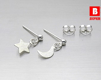 925 Sterling Silver Stud Earrings, Star and Moon Brushed Earrings, Stud Earrings (Code : CH3C)
