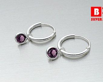 925 Sterling Silver Earrings, Purple Crystal Hoop Earrings, Hoop Earrings (Code : EY44E)