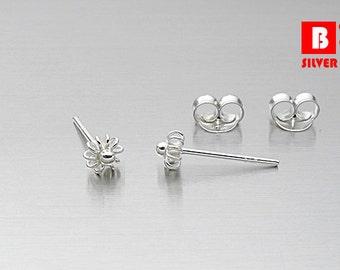 925 Sterling Silver Earrings, Stud Earrings, Size 4 mm (Code : ED30D)