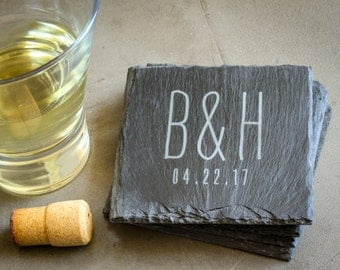 Personalized Coaster Set, Custom Engraved Coasters, Monogrammed Gift, Custom Slate Coasters: Wedding Shower, Housewarming Gift, New Couple