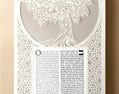 Papercut Ketubah Tree of Life with Middle Eastern Style Border White on Pearl Gray