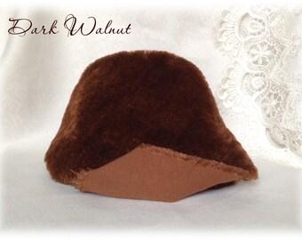 Italian viscose Plush Fabric Fur Dark Walnut Brown 8-9 mm pile dense fluffy 1/8 metre or more teddy bear making supplies