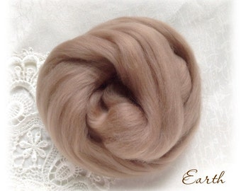 Extrafine Merino WOOL Dyed TOPS  19 Microns color Earth per 25 gr felting spinning teddy bear making supplies