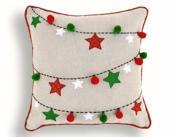 "Christmas linen pillow cover, ornaments, garland, Indian brocade, applique, embroidered pillow size 16""X 16"""