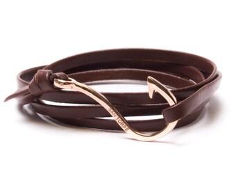 Brown Leather Rose Gold Hook Bracelet