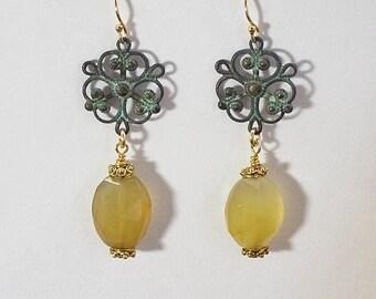 Yellow chalcedony drop earrings,                                   yellow green, dangle earrings, drop earrings, gold jewelry, unique