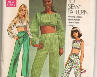 sz 9/10 SIMPLICITY 8665 Sewing Pattern Retro MOD Midriff Crop Belly Top Flare Pants