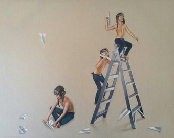 """Giclee Small Print of original painting """"Launch Pad"""" of boys with paper planes and ladder"""