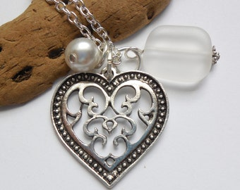 Crystal White Sea Glass Necklace, Beach Glass Necklace, Sea Glass Jewelry, Beach Glass Jewelery, Heart Charm Necklace, Free Shipping in US.