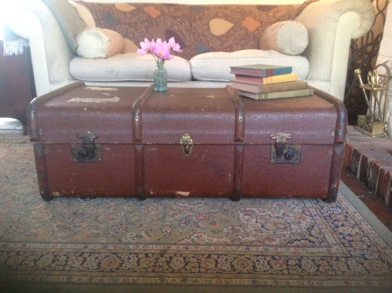 Steamer Trunk Chest Coffee Table Vintage Storage Haute Juice