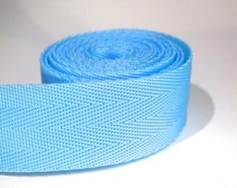 3 yards of 1.25 inch / 32mm light blue webbing, strap (WB36)