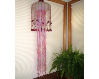 Raspberry Jellyfish Pendant Light on Vintage Ribbed Glass Globe, 16-color LED w/remote, Free Shipping