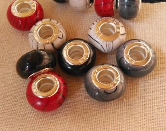 Beads, large hole beads, charm beads, resin beads, acrylic beads, european style beads, 12 beads